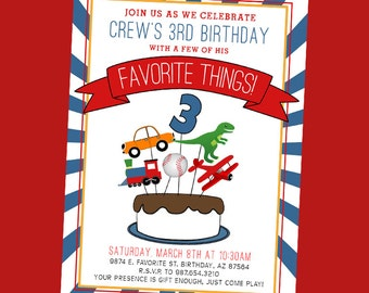 Favorite Things Birthday Party Invite