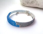 Turquoise Bangle - Aqua Blue Bracelet, Memory Wire, 'Caribbean' Blue and Silver.