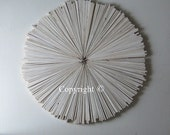 Wood Wall Art ,Abstract Painting on Wood ,Circle Round Sculpture Sunburst White Modern