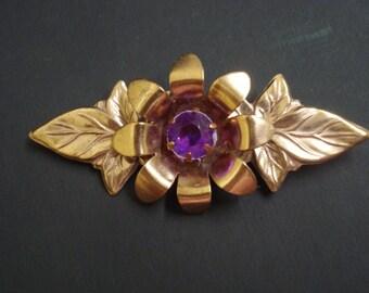 Glorious Vintage Brooch Golden Flower Gold Tone