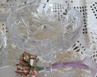 Set of Four ~ GORHAM Nachtmann Germany Crystal ~ Cherrywood CHAMPAGNE or DESSERT Glass Stemware