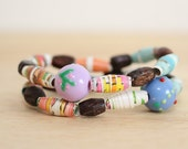 Paper Bead Bracelet Set, Made With Recycled Book Pages, Colorful Teacher Gift, Birthday Bracelet, Nerdy