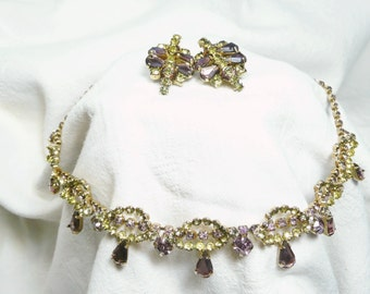 Vintage Lavendar and Green Rhinestone Necklace, Clip-on Earings Set