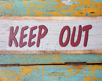 Beach decor KEEP OUT sign Nautical Wooden Distressed by SEASTYLE