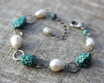 Turquoise pearl link bracelet Bridesmaids gifts Free US Shipping handmade Anni Designs