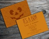 Halloween Glitter Jack-O-Lantern Pumpkin Double Sided Baby Shower, Birthday,or Halloween Party Invitation