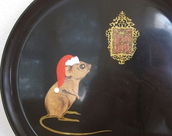 Vintage Couroc Christmas Mouse Bar Tray