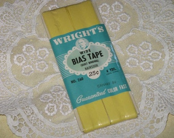Wrights Yellow Quilt Binding Wide Bias Tape Cotton 4 Yards New Package 1950's