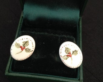 Vintage Ceramic Clip On Earrings Hand Painted with Holly Leaves and Berries