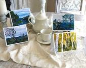 Greeting cards, blank inside, Tree art, fantasy art, fairy door. set 4 cards