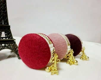 3 set of felt macaroons coin/jewellery case - 3 colourse choice from 9 colours