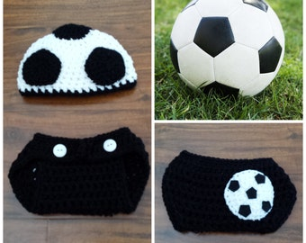 Crochet Soccer Outfit (beanie/hat and diaper cover)