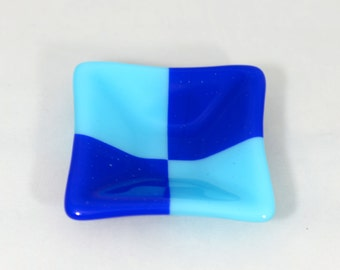 Small Fused Glass Dish, Royal Bue and Turquoise Square Ring Dish, Condiment Dish