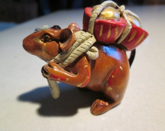 MOUSE, netsuke, wooden, hand carved, hand painted, hand embellished, with FORTUNE, LUCKY...