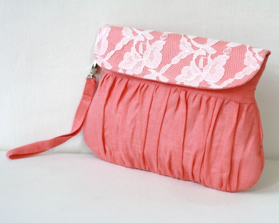 Linen and lace clutch coral and ivory - bridal clutch - bridesmaid clutch