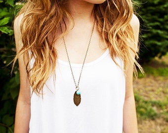 Long Leaf Boho Necklace