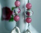 Miniature Teacup Spring or Summertime Earrings Flower Design