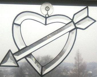 Stained Glass Suncatcher|Cupid's Arrow|Heart|Fall in Love|Beveled Glass|Art & Collectibles|Glass Art|Suncatchers|Handcrafted|Made in USA