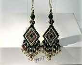 Garnet Gemstone Earrings & Seed Beaded Chandelier, Geometric Diamond Design with Garnet, Sterling Silver and Antique Silver.
