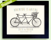 Wedding Gift for Couple Unique Engagement Gift Newlywed Tandem Bicycle Art Adventurous Couple Framed Print Bicycle for Two Bridal Shower