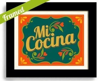 Framed Mexican Art Kitchen Art Print Decor Loves to Cook Spanish Kitchen Cuban Cooking Art I Love My Kitchen Artwork Mi Cocina