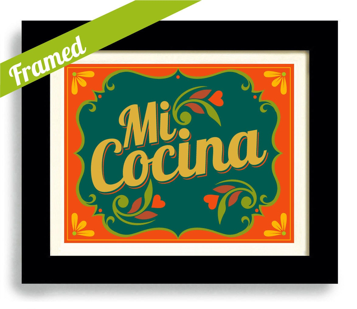 Framed Mexican Art Kitchen Art Print Decor Loves To Cook