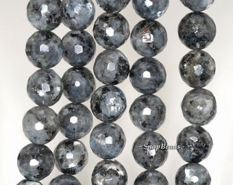 12mm Larvikite Gemstone Grey Black Faceted Round 12mm Loose Beads 7.5 inch Half Strand (90148803-241)