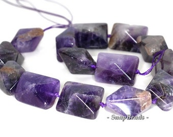 23x18mm Amethyst Gemstone Purple Faceted Bicone Rectangle Loose Beads 15.5 inch Full Strand (90145917-260)