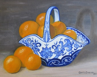Oranges, blue and white china, still life, art print - 8 x 10 matted print