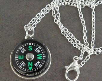 ZOMBIE SURVIVAL KIT Silver Plated Compass Necklace For The Walking Dead Zombie Apocalypse - Zombie Jewellery - Map Reading - Hiking Necklace