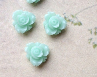 12 mm Peppermint Green Color Resin Rose Flower Cabochons (.sm)