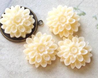 17 mm Milky White Colour Resin Dahlia Flower Cabochons (.am)