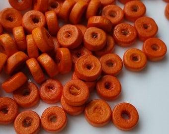 8 mm x 3 mm Orange Colour Wooden Beads (.mt)