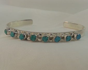 Genuine Blue Turquoise Cuff Bracelet Native American Sterling Silver Vintage Tracy B Designs Estate Jewelry Seller and Buyer