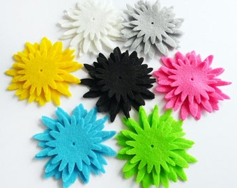 Felt flower Shapes, set 21 pieces