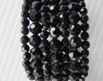Vintage Black Bead Cuff Bracelet