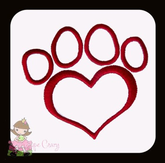 Valentine Paw Print Applique design