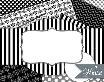 Black digital paper clip art, frame clipart, gray chevron scrapbooking stripe background digital invitation : p0183k black gray