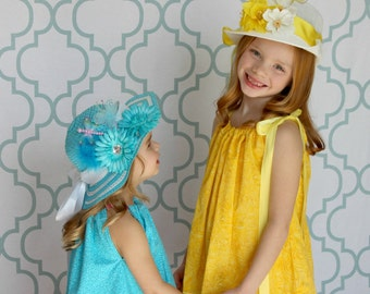 Easter Hat - Tea Party Hat - Easter Bonnet - Child's spring hat - Girls Sun Hat - Girls Cloche - you choose color -Flower Girl Hat