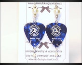 blue guitar pick white pearl earrings deep blue guitar pik silver finish bead and ring faux pearl earrings