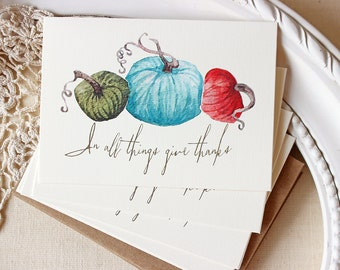 Autumn Pumpkin note cards Fall Give Thanks Watercolor