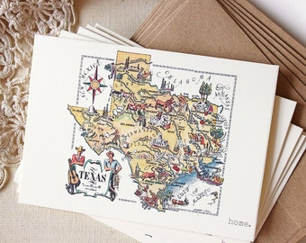 Vintage Texas Map Illustrated Note Cards Home