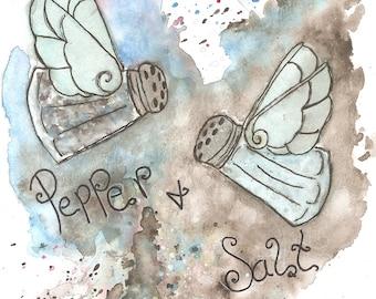 Kitchen art print, salt and pepper art print, seasoning and spices print, itchen tools print, chef gift, home cooking art print, salt art