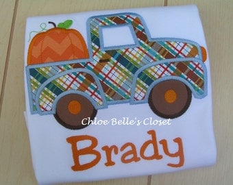 Plaid Pumpkin Truck Personalized Shirt