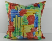 Primary Colors Decorative Pillow Cover, Richloom Fabrics, Red, Blue, Yellow, Green, 18 x 18, 16 x 16, Accent Pillow Cushion