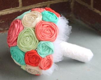Rosette bouquet. coral, turquoise, mint fabric wedding bouquet.