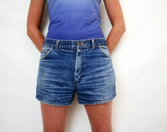 Vintage Rebell High Waist Distressed Denim Shorts Dark Wash Jeans