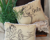 Retro Vintage Mermaid Pillow(s) -Personalized Free - 4 Designs- Baby, Child, Adult-Gift ~ BEST SELLER!