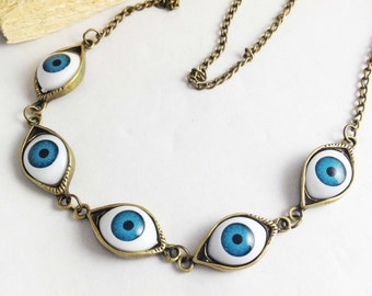 1pc Antique Bronze Blue Eyes Necklace