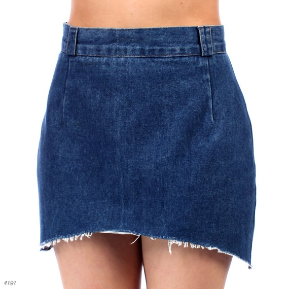 reserved high waist denim skirt hi low denim mini skirt